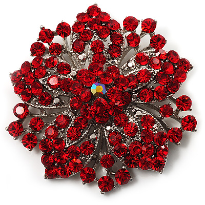 Victorian Corsage Flower Brooch Silver Amp Bright Red