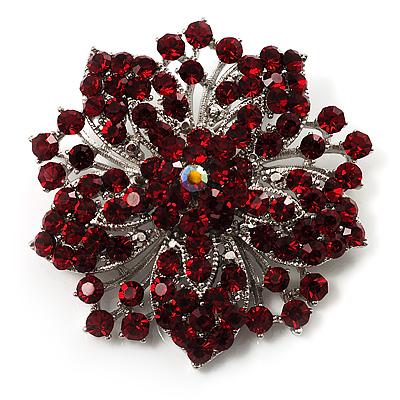 Victorian Corsage Flower Brooch (Silver&Burgundy)