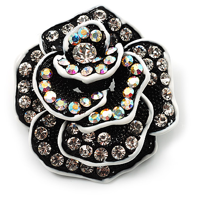 Romantic Vintage Dimensional Crystal Rose Brooch (Black&White) - main view