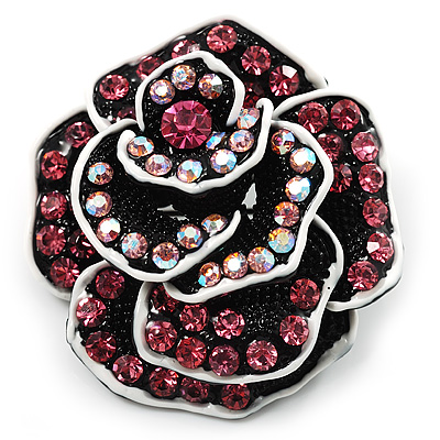 Romantic Vintage Dimensional Crystal Rose Brooch (Black&Pink) - main view