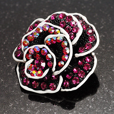 Romantic Vintage Dimensional Crystal Rose Brooch (Black&Fuchsia )