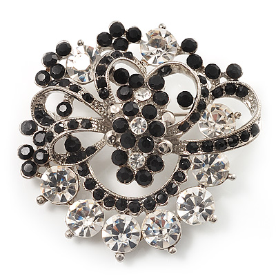 Black & White Diamante Corsage Brooch (Silver Tone) - main view