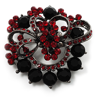 Red & Jet-Black Diamante Corsage Brooch (Black Tone)