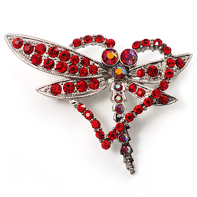 Bright Red Crystal Butterfly And Heart Brooch (Silver Tone) - main view