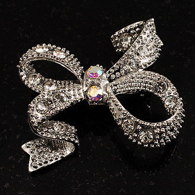 Contemporary Crystal Bow Brooch (Silver Tone)