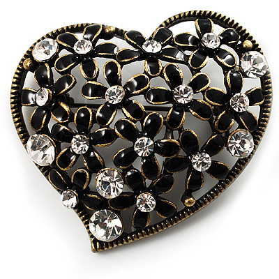 Vintage Crystal Heart Brooch (Bronze Tone) - main view