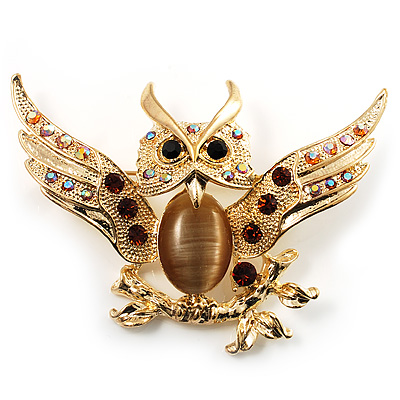 Stunning Crystal Owl Brooch (Gold Tone) - main view