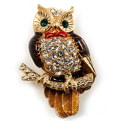 Crystal Owl With Red Bow Brooch (Gold Tone)