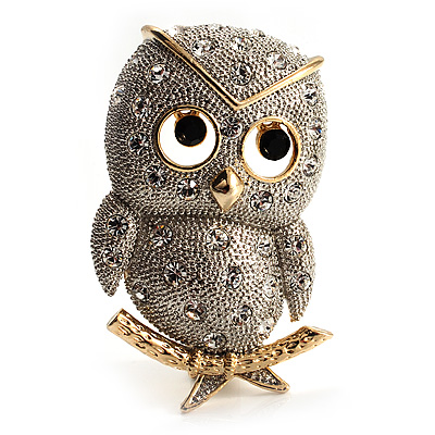 Cute Baby Owl Brooch (Gold&Silver Tone) - main view
