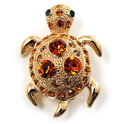Small Amber Coloured Swarovski Crystal Turtle Brooch (Gold Tone)