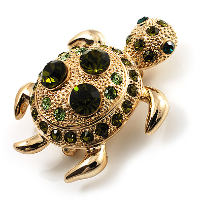 Small Emerald Green Swarovski Crystal Turtle Brooch (Gold Tone)