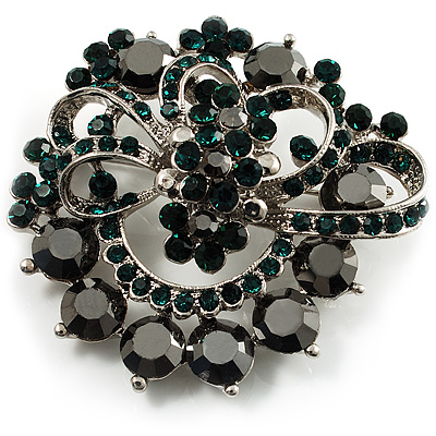 Emerald Green&Jet-Black Diamante Corsage Brooch (Silver Tone)