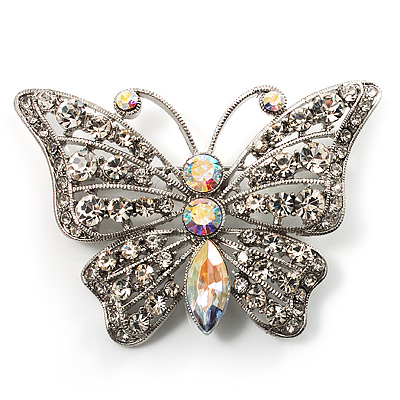 Diamante Filigree Butterfly Pin (Silver Tone) - main view