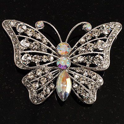 Diamante Filigree Butterfly Pin (Silver Tone)