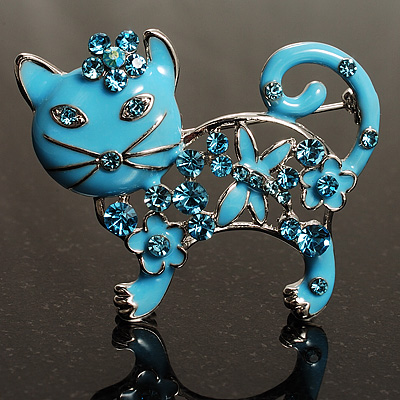'Russian Blue' Enamel Cat Brooch