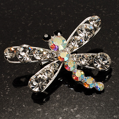 Small Clear Crystal Dragonfly Brooch (Silver Tone)