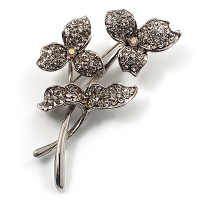 Clear Crystal Clover Brooch - main view