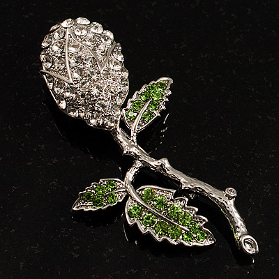 Vintage Crystal Rose Brooch (Silver&Clear&Green) - main view