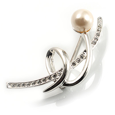 Silver Tone Imitation Pearl Floral Brooch - main view