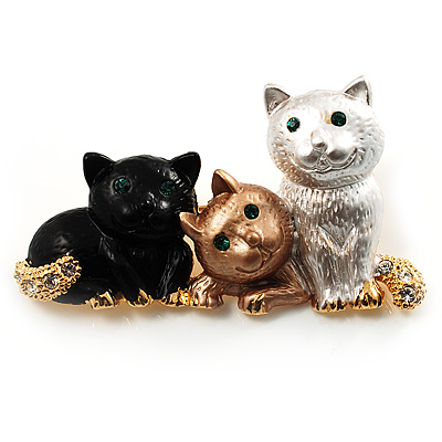 &#039;Adorable Kittens&#039; Fashion Brooch (Gold Tone)