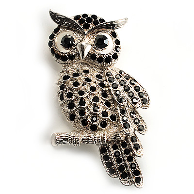 Large Jet Black Swarovski Crystal Owl Brooch (Silver Tone)