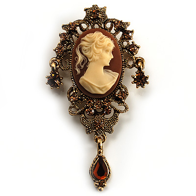 Heiress Filigree Crystal Charm 'Cameo' Brooch (Antique Gold)