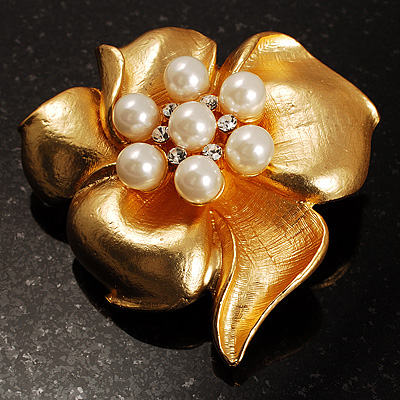 Stunning Crystal Pearl Flower Brooch (Matte Gold Finish)