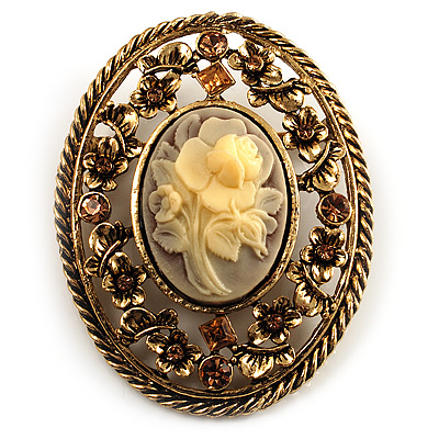 Vintage Floral Crystal Cameo Brooch (Antique Gold Finish)
