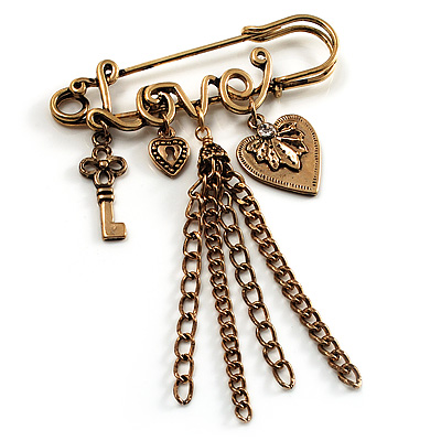 'Love', Key, Lock, Heart And Tassel Safety Pin Brooch (Antique Gold Tone)