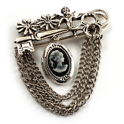 Vintage Cameo Locket, Angel, Key, Flower And Chain Pin Brooch (Burn Silver Finish) - main view