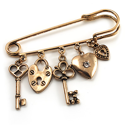 Key, Lock And Heart Locket Charm Safety Pin Brooch (Burn Gold Finish) - main view