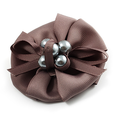 Light Grey Fabric Imitation Pearl Flower Brooch - main view