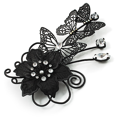 Black Crystal Filigree Flower And Butterfly Crystal Brooch (Catwalk - 2011) - main view