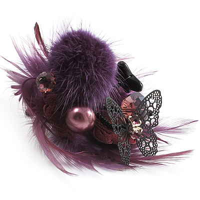 'Fluffy Paradise' Hair Clip / Brooch (Violet & Deep Purple) [B01092]