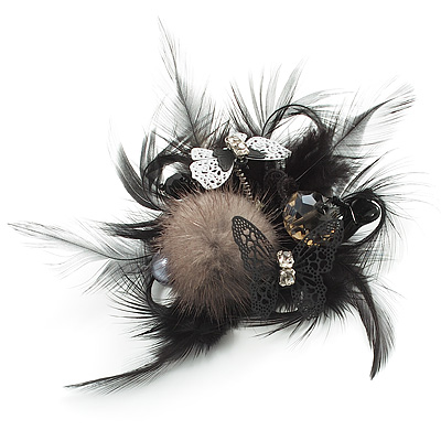 'Fluffy Paradise' Hair Clip/ Brooch (Black & White) - Catwalk 2013