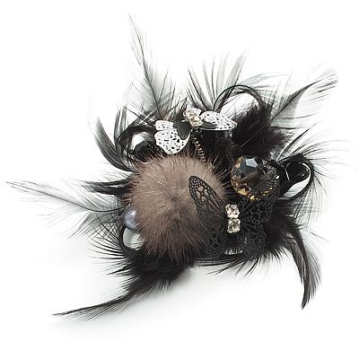 'Fluffy Paradise' Hair Clip/ Brooch (Black & White) - Catwalk 2014 - main view