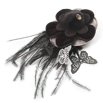 Black Feather Flower And Butterfly Fabric Hair Clip/ Brooch (Catwalk - 2013)
