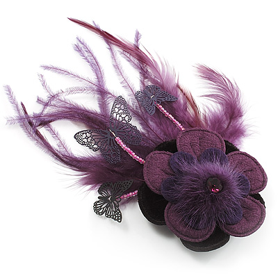 Deep Purple Feather Flower And Butterfly Fabric Hair Clip/ Brooch (Catwalk - 2014) - main view