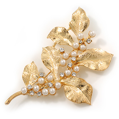 Gold Plated Crystal Pearl Floral Brooch/Pendant