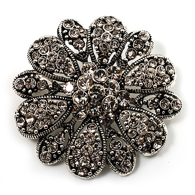 Vintage Swarovski Crystal Floral Brooch (Antique Silver) - main view