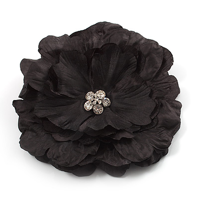 Large Black Crystal Fabric Rose Brooch - 13cm Diameter - main view