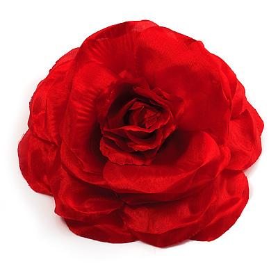 Large Red Fabric Rose Brooch - main view
