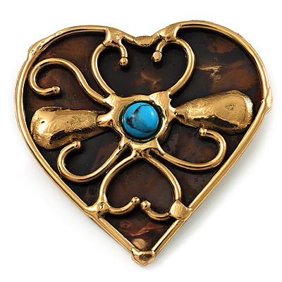 Flowering Heart Brass Brooch