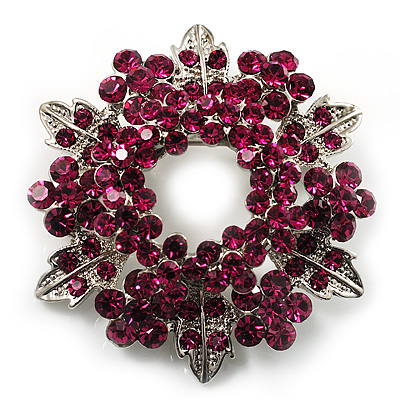 Bright Magenta Crystal Wreath Brooch
