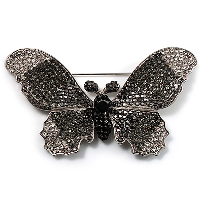 Gigantic Pave Swarovski Crystal Butterfly Brooch (Clear&amp;Black)