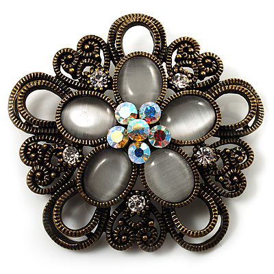 Vintage Filigree Diamante Floral Brooch (Bronze Tone)