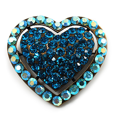 Bronze Tone Dazzling Diamante Heart Brooch (Sky Blue)