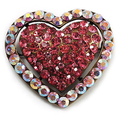 Bronze Tone Dazzling Diamante Heart Brooch (Pink) - main view