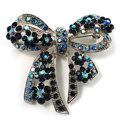 Stunning Navy Blue Swarovski Crystal Bow Brooch (Silver Tone)