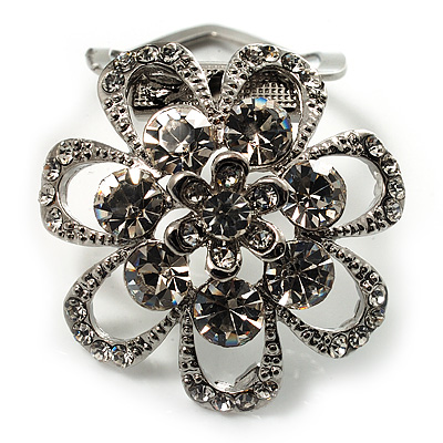 Diamante Floral Scarf Pin/ Brooch (Silver Tone)